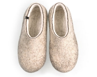 Organic indoor shoes, Felted Wool Slippers for men, Wool clogs, Eco friendly house slippers, Grey slippers, cool slippers mens felt slippers