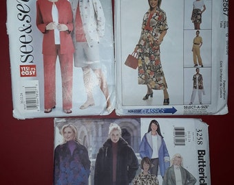3 Uncut Sewing Patterns Butterick 3258, 4165 & McCall's 2567  Misses Size 20, 22, 24, Top, Pants, Skirt, Jacket, shirt, shorts