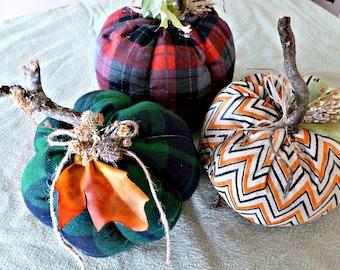 Farmhouse Pumpkins!  Farmouse Decor, Fabric Pumpkins, Home decor, Home and Living.  Set of Three