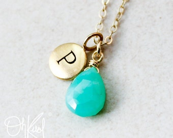 Gold Green Chrysoprase Necklace - Initial Necklace - 14K GF