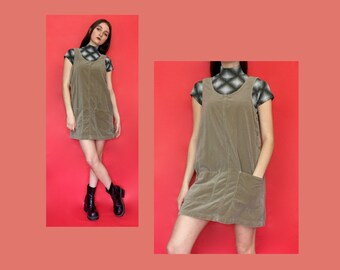Vintage 90s Beige Corduroy Sleeveless Jumper Dress