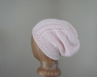 Women's Slouch Hat with Cable, Pale Pink & White, Silk and Cashmere, Hand Knit, Luxury Accessory, Slouchy Beanie