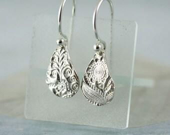 Fine Silver Earrings Drops , Silver Dangles - Mothers Day Flower Earrings - Silver Metal Clay Jewellery