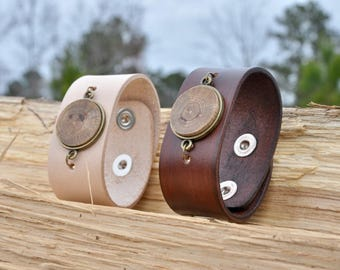 Leather and Wood Cuff Essential Oil Diffuser   Bracelet