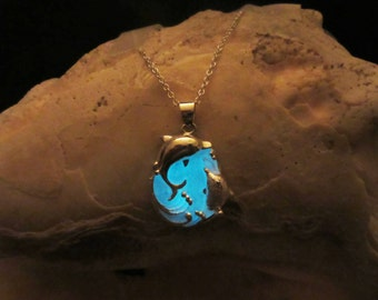 Dolphins necklace glow in the dark // sterling silver