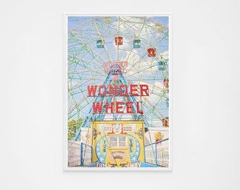 "Oversize Art Wonder Wheel Coney Island Brooklyn // Ferris Wheel Photography // Carnival Photography // Coney Island  ""Wonder Wheel"""