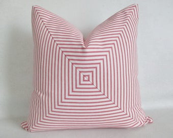Pillow Cover Mitered Red & White Ticking Stripes Urban Chic