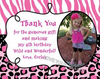 Zebra and Cheetah Thank You Card with photo - YOU PRINT jpeg file