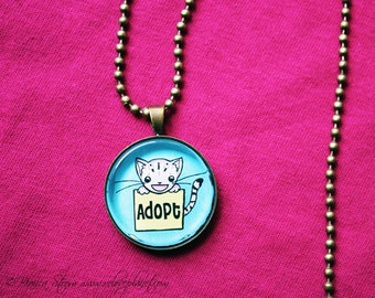 """Adopt Don't Shop Kitty 1"""" Pendant Necklace - or 2 for 20 - Animal Rights Pet Cat - ReLove Plan.et"""