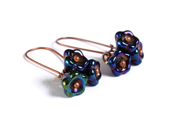 Handmade iris blue purple pink green Czech bell flower floral dangle earrings (689)
