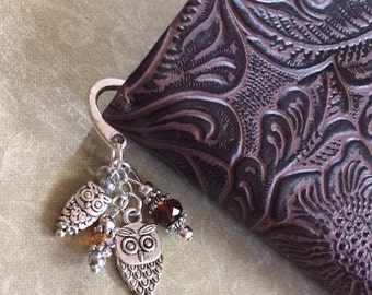 Adorable Owl Small Bookmark — Great Gift! Sparkle Bird Tan Brown