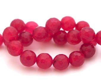 5 fuchsia 8mm faceted jade beads