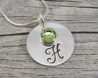 Hand Stamped Jewelry - Personalized Jewelry - Initial Necklace - Sterling Silver Necklace - One Swarovski Birthstone