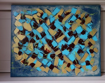"""Abstract art, wall art, canvas art, textured, teal, gold, 16"""" x 20"""""""