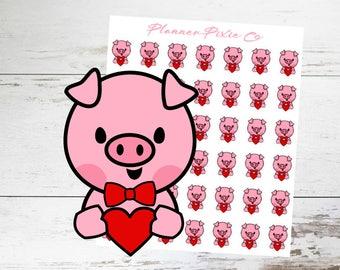 Pig Planner Stickers // Valentine // Gift