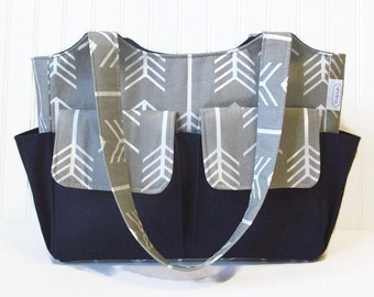 Personalized Diaper Bag in Gray Arrows and Navy Blue for Baby Boy or Girl 10 Pockets Nappy Bag