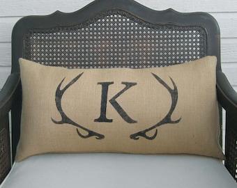 Deer Antler Monogram Pillow - Lumbar Pillow  - Burlap Pillow - Antler Decor - Burlap Monogram Pillow -  Personalized  - Letter Pillow