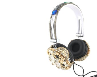 Blingustyle multicolor big iridescent crystal pearl fashion ear-cup headphone