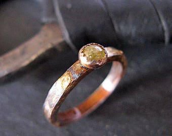 Yellow Diamond Ring Oxidized Silver Ring Gold Silver Ring Rustic Engagement Ring Unique Promise Ring Rose Cut Diamond Rough Diamond Raw Diam