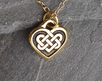 Tiny Celtic Heart Necklace / Small gold Celtic Heart Knot Necklace / Gold plated Heart / Irish Necklace / Gold Heart / Gold filled chain