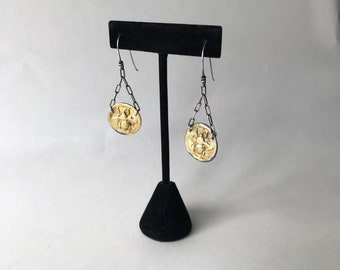 Gold and Silver Bee Dangle Earrings