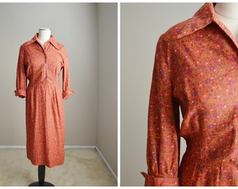 vintage 40s 50s terracotta red floral house garden party dress -- womens medium-- 38-30-42 dress