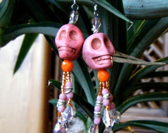 Pink Skelly Earrings