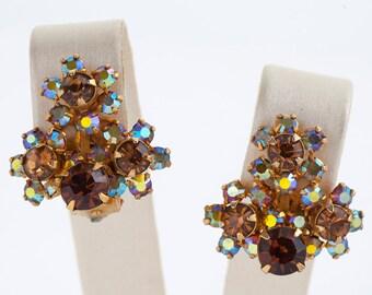 Vintage Earrings - Vintage Kramer Rhinestone Clip On Earrings
