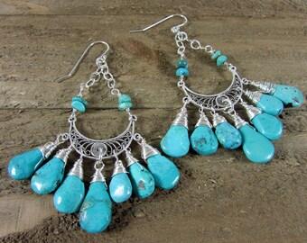 Turquoise Chandelier Earrings, Boho Earrings, Sterling Silver & Turquoise Earrings, Genuine Turquoise Earring