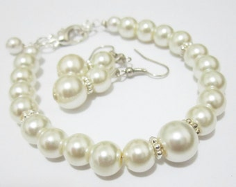 Bridesmaid Gift Jewelry Set Pearl Bracelet and Earring Set, Bridesmaid Jewelry, Wedding Jewelry, Bridesmaid Bracelets, White or Ivory Pearl