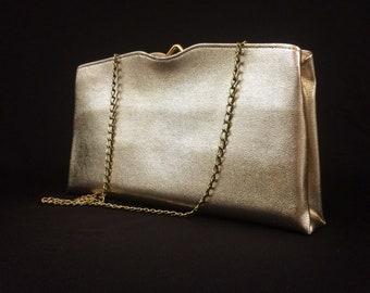 Handbag 1950's 60's Gold Purse/ Vintage Gold  Clutch Purse/ Vinyl Gold Handbag/ Vintage Gold Evening Bag