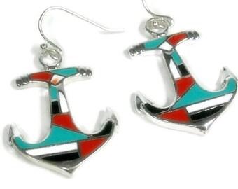 Sale| Anchor Earrings, Anchor Jewelry, Red, Black, Turquoise Inlay, Nautical Earrings, Beach Earrings, Summer, Boating, Dangle Anchor Earrin