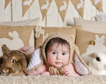 Baby bunny bonnet, sitter bunny hat, baby bunny prop, newborn photo prop, baby photo prop, easter baby prop, easter bunny bonnet