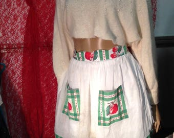 Apron Hostess Vintage Red Cherries