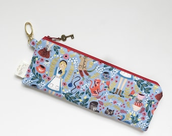 "9.5"" x 3.5"" Top Zippered Pouch // Alice in Wonderland by Rifle Paper Co"