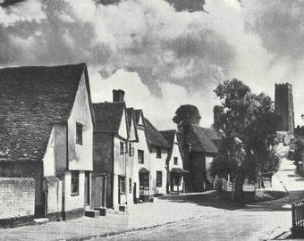 Kersey Suffolk English Ford Countryside 1930s vintage Print B & W photograph Vintage ephemera landscape