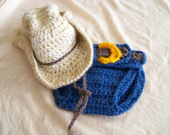 Baby Cowboy Hat and Cover  Set - Baby Hat - Customize your Set - Baby Diaper Cover - Western Set - by JoJo's Bootique