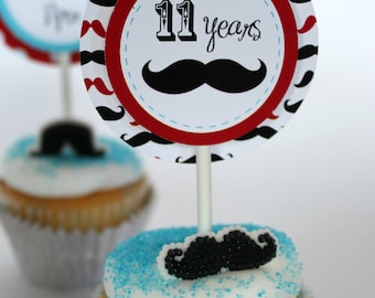 Mustache Party Circles With Editable Text, Personalized Mustache Party Circles, DIY Mustache Cupcake Circles, Mustache Party Cupcake Topper