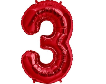 """Red Number 3 Three Balloon 32.5"""" Foil Mylar Third 3rd Birthday Party Thirteen 13th Decorations Supplies Supply Photo Prop"""