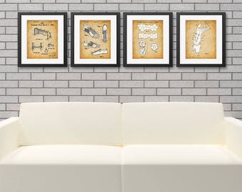 Original Soccer Patent Art Prints - Set of Four Photos (8x10) Unframed - Great Gift for Soccer Players or Soccer Fans