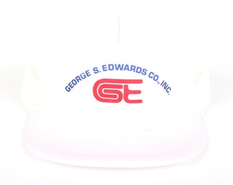 Vintage White Trucker Hat / Trucker Hat / Mens Trucker Hat Cap / Trucker Cap /  George Edwards Mens Hat /  Cap / Womens Baseball Hat