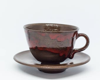 Handmade ceramic cup with saucer. Red pottery mug Cappuccino mug Coffee mug Pottery mug Cappuccino cup Reg cappuccino cup Kind gift