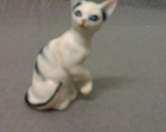 Beige White Cat with Grey Blue Stripes and colorful Features Miniature Cat Figurine