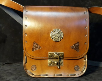 Celtic dark brown leather bag