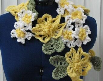 Flowers - Crochet Pattern - Yellow and White Flowers Scarf Pattern - Women's Scarf Pattern - Flower Scarf Pattern - Flower Pattern