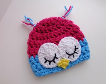Ready to Ship, Newborn Baby Crochet Sleepy Owl Girl Hat, Aqua and Pink, Photo Prop