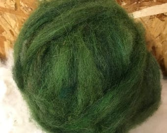 Alpaca Wool Roving, Spinning, Felting, Pine Green
