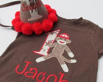 Personalized Sock Monkey Birthday Shirt Set- Sock Monkey Birthday Shirt and Hat Set- Sock Monkey Birthday Set