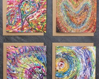 Set of 4 Abstract Art Cards/ Art Cards/ Fine Art Cards/ Greeting Cards/ Birthday Cards/ Cards/ Unusual Art Cards/ Valentines Cards