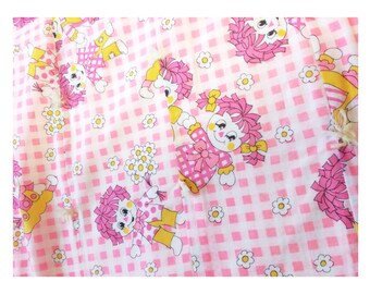 Vintage Raggedy Ann and Andy Pink Baby Quilt Blanket